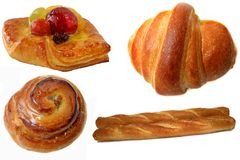 BreadS. Fruit cake,croisant,danish and french bread royalty free stock photos