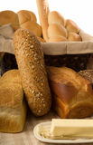 Breads. A variety of freshly baked breads and rolls Stock Photography