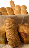Breads. A variety of freshly baked breads and rolls Royalty Free Stock Photos