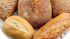 Breads and baked goods: Camera pans across large assortment in HD video stock video