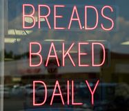 Breads Baked Daily Sign Stock Photos