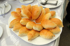 Breads on banquet table. Breads on plate at banquet table Stock Photos
