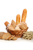 Breads in basket 3. Breads in basket accompanied by wheat and corn seed Stock Photo