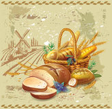 Breads in basket against landscape Royalty Free Stock Photos