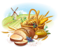Breads in basket against landscape Royalty Free Stock Images