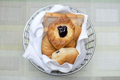 Breads in basket for breakfast Stock Photo