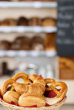 Breads In Bread Basket On Bakery Counter Royalty Free Stock Photos