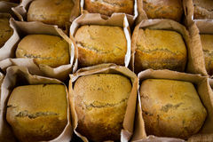 Breads in brown bag kept on display counter Royalty Free Stock Image