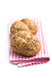 Breads on checkered napkin Royalty Free Stock Images