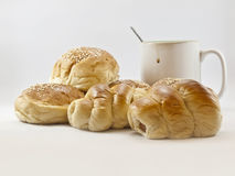 Breads and coffee cup Stock Photography