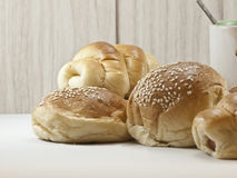 Breads and coffee cup Stock Photos