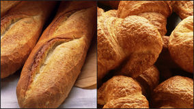 Breads and croissants. Fresh bread and croissants collage Royalty Free Stock Photos