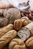 Breads. Different breads on wood background Stock Photos