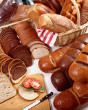 Breads Galore. Different Breads in a large variety Stock Photo