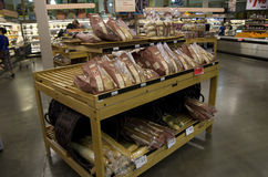 Breads in grocery store royalty free stock photography