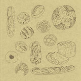 Breads. Line drawing of breads on cardboard Stock Image