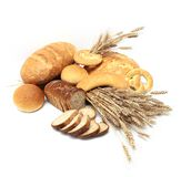 Breads and loafs. Bread, loaf, cake, baton, crescent on white background with cereals Stock Photography