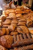 Breads at Mechane Yehuda market, Jerusalem, Israel. Display of artisan bread and pastries at Mechane Yehuda market in Jerusalem, Israel Stock Photo