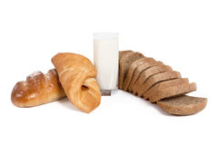 Breads with milk. Isolated on white background stock photo