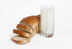 Breads with milk. On white background Stock Photos