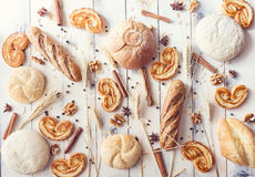 Breads, palmiers, spices and cereals Stock Photo