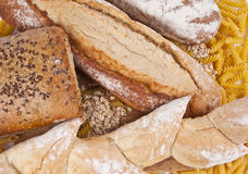 Breads and Pasta variety Royalty Free Stock Photos