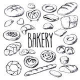 Breads and pastries hand-drawn vector set Stock Photos