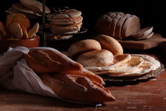 Breads on a table Stock Photography