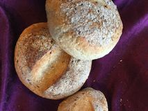 Breads. A top view shot of a freshly made bread on a purple fabric Royalty Free Stock Images