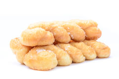 Breads twists donut, isolated on white background. Pile of breads twists donut, isolated on white background,  with shadow Royalty Free Stock Image