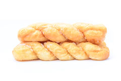 Breads twists donut, isolated on white background Royalty Free Stock Photo