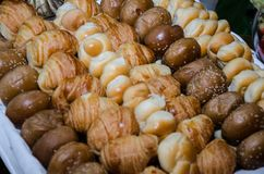 Breads. Variety of small breads on the snack table Stock Image