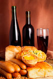 Breads and wine Royalty Free Stock Photos