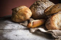 Breads on wooden table Stock Photo