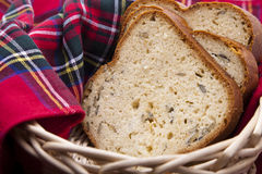 Breads in a woven basket Royalty Free Stock Image