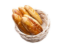 Breads in woven basket Stock Photo