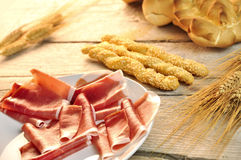 Breadstick with ham Royalty Free Stock Photos