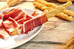 Breadstick with ham Royalty Free Stock Photo