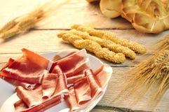 Breadstick met ham royalty-vrije stock foto's