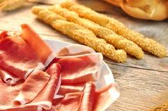 Breadstick met ham royalty-vrije stock afbeelding