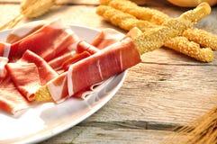 Breadstick met ham Royalty-vrije Stock Foto