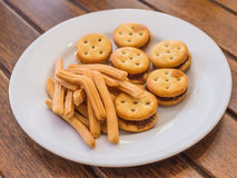 Breadsticks with biscuits pineapple fillings. Snack Royalty Free Stock Photography