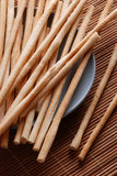 Breadsticks on dish Royalty Free Stock Photos