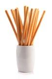 Breadsticks en un vidrio Fotos de archivo libres de regalías