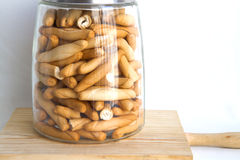Breadsticks. Isolated in glass jar royalty free stock images