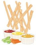 Breadsticks och dopp royaltyfri illustrationer