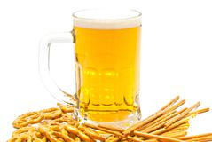 Breadsticks, pretzels and beer. On white background Royalty Free Stock Images