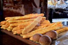 Breadsticks queso y pan de los panes Fotografía de archivo