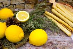 Breadsticksgrissini op rieten plaat, citroenen, en olijfolie stock foto's