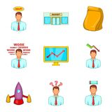 Breadwinner icons set, cartoon style Royalty Free Stock Images